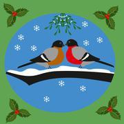 Bullfinches and mistletoe Stock Illustration