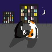 couple of cats in love - stock illustration