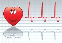 vector red heart and heartbeat - stock illustration