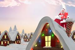 Composite image of santa holding pile of gifts - stock illustration