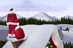 Stock Illustration of Composite image of santa on cottage roof