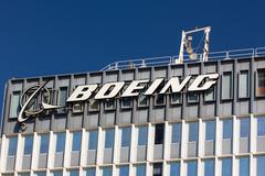 Stock Photo of boeing manufacturing facility and logo