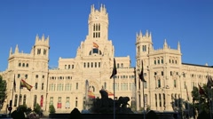 Cibeles Palace is the most prominent of the buildings - stock footage