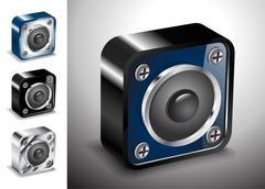 Button icons vector 3D voice sound Stock Illustration