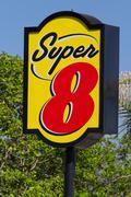 super 8 motel sign - stock photo