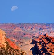 grand canyon moon - stock photo