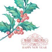 Christmas mistletoe. - stock illustration