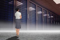 Composite image of businesswoman standing Stock Illustration