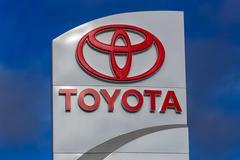 toyota automobile dealership sign - stock photo