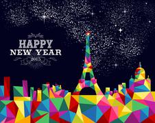 new year 2015 france poster design - stock illustration