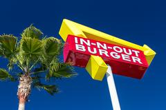 in-n-out burger exterior sign - stock photo