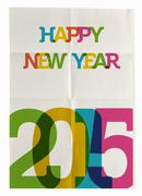 happy new year 2015 folded paper poster - stock illustration