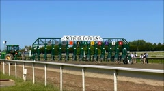 Horse track starting gate Stock Footage