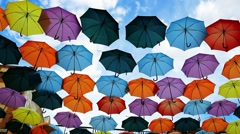 Background colorful street decoration umbrellas,Madrid Stock Footage