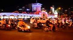 Ben Thanh Market at Night - Ho Chi Minh City (Saigon)  Vietnam Stock Footage