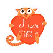 cute cartoon ginger cat with heart and declaration of love. - stock illustration