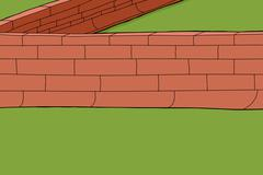 red brick fence - stock illustration