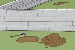 Holes and boundary wall Stock Illustration
