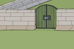 Locked gate in wall Stock Illustration