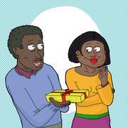 Loving couple over white Stock Illustration