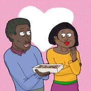 Stock Illustration of man sharing box of candy with woman