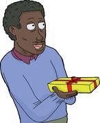 mature man holdin gift - stock illustration