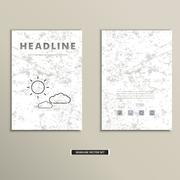 Book cover with contour images of clouds and sun - stock illustration