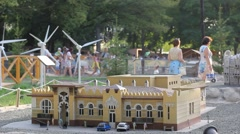 People in miniature park Stock Footage