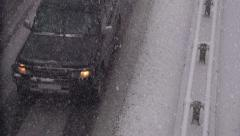 Traffic in the Snow Stock Footage