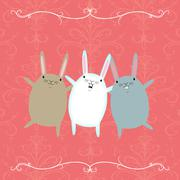 three dancing rabbits on a pink background - stock illustration