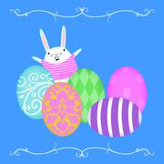easter bunny waving from behind rows of easter eggs - stock illustration