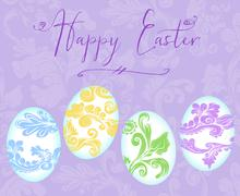 happy easter with colorful eggs - stock illustration