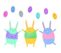 Easter bunnies juggling eggs Stock Illustration