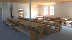 Reconstructed eating area in Camp Vught National Memorial, Netherlands. Stock Footage