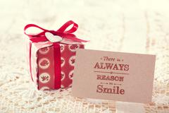 There is always a reason to smile message card Stock Photos