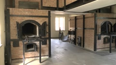 Ovens in the crematorium, Camp Vught National Memorial, Netherlands. Stock Footage