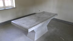 Concrete operating table in Camp Vught National Memorial, Netherlands. Stock Footage