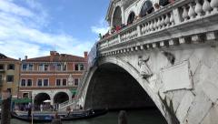Venice Italy Grand Canal Rialto Bridge Gondola 4K 017 Stock Footage