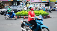 Moped Traffic in Downtown Ho Chi Minh City Daytime -  Vietnam - stock footage