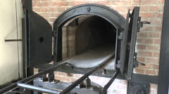Oven in the crematorium, Camp Vught National Memorial, Netherlands. Stock Footage