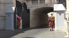 Rome Italy Vatican Swiss Guards by road entrance 4K 069 Stock Footage
