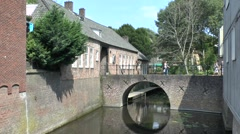 Small canal bridge in 's-Hertogenbosch (Den Bosch), North Brabant, Netherlands. Stock Footage