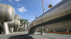 Heat exchanger in refinery plant - stock footage