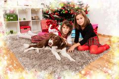 Kids with their christmas presents Stock Photos