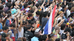 Slow Motion Pan of Large Crowd at Electronic Music Festival Tokyo Japan Stock Footage