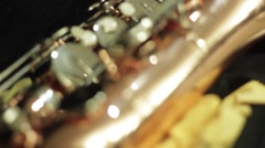 Close-up shot of a beautiful saxophone Stock Footage
