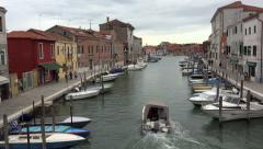 Venice Italy historic Murano canal boats shops 4K 033 - stock footage