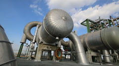 Process area in chemical plant Stock Footage