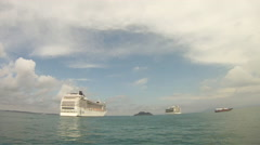 Large Cruise Ship In The Atlantic Ocean Stock Footage