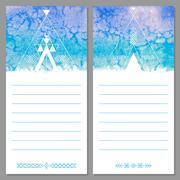 Page templates are notepad, leaflets, cards. Aztec watercolor background. Stock Illustration